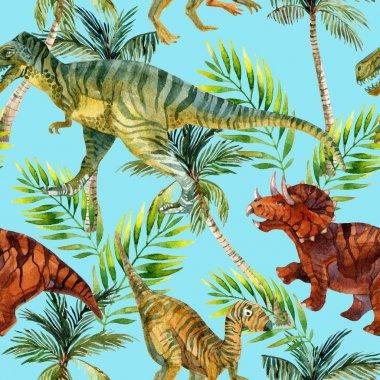 Dinosaur watercolor seamless pattern