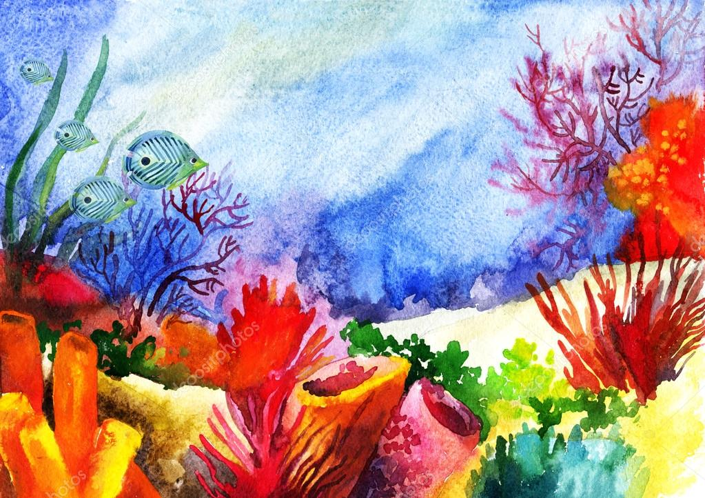 Underwater landscape with coral reef watercolor painted.