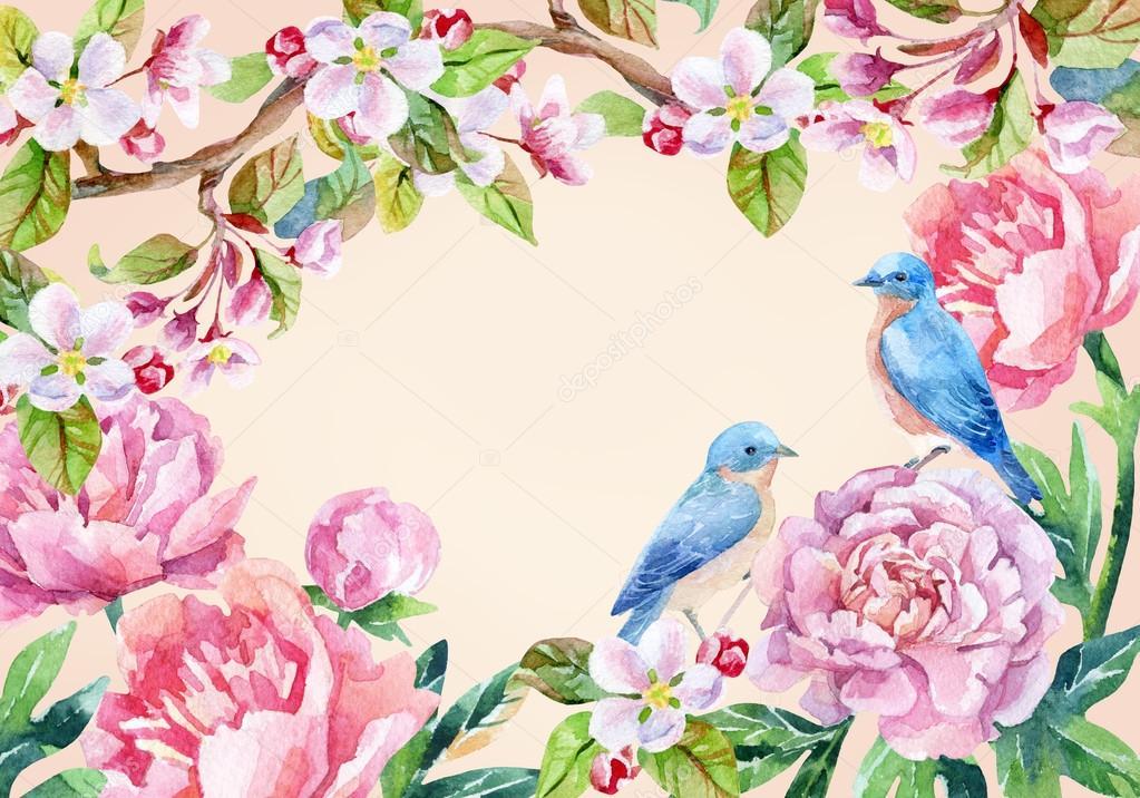 Scheda dell 39 annata con i fiori e gli uccelli sfondo - Primavera uccelli primavera colorazione pagine ...