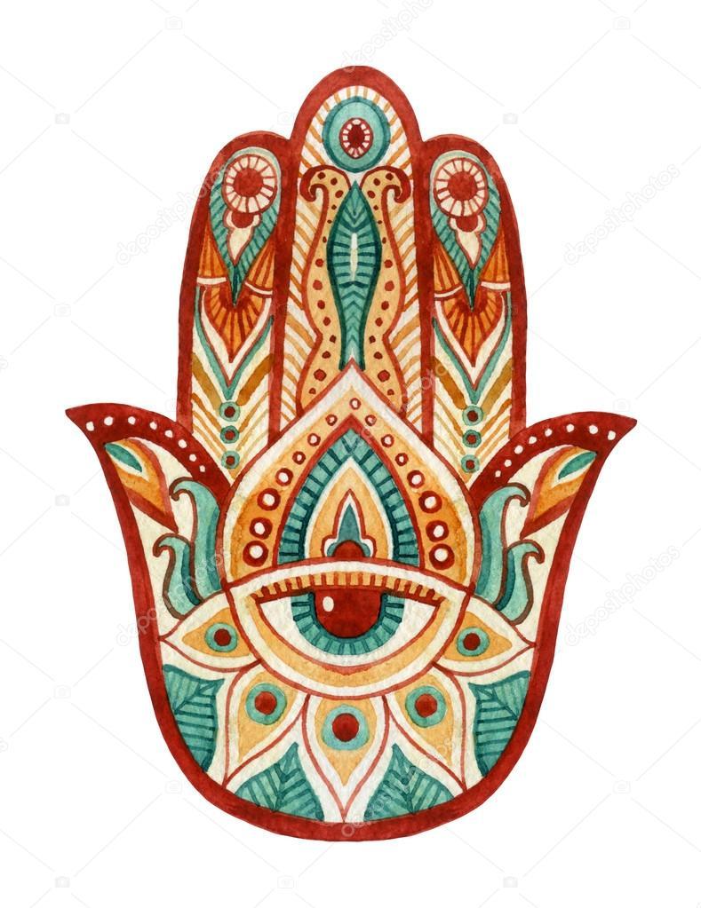 Hamsa hand in watercolor protective and good luck amulet in hamsa hand in watercolor protective and good luck amulet in indian arabic jewish cultures biocorpaavc