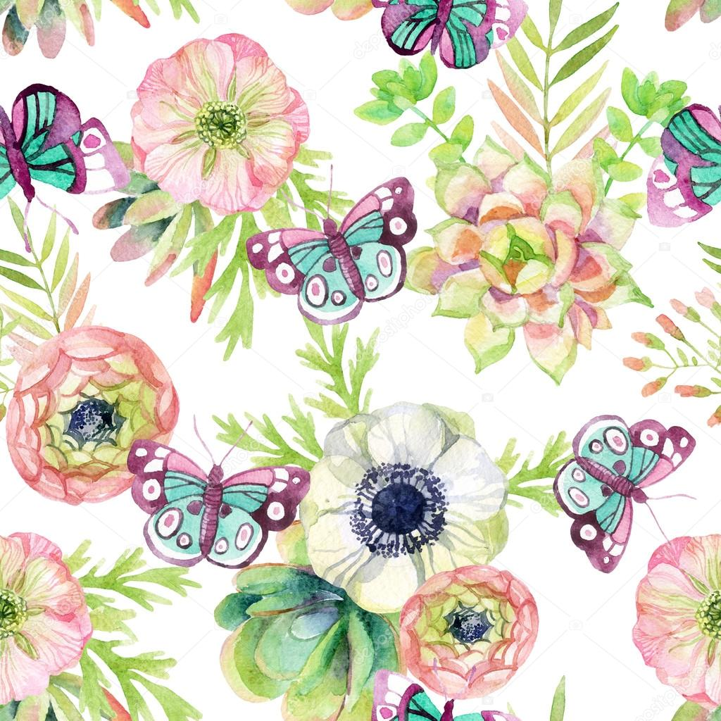 watercolor seamless pattern with anemone and herbs