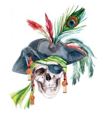 Watercolor pirate head