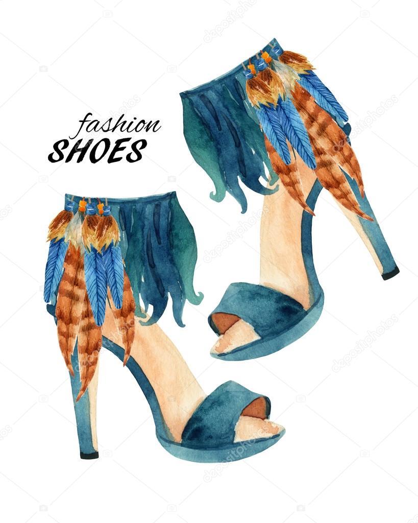Suluboya Stiletto Topuk Ayakkabı Boyama Stok Foto