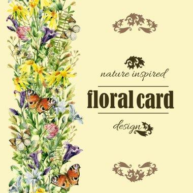 Watercolor wild flowers card in vintage style