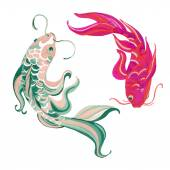 Photo Watercolor asian koi