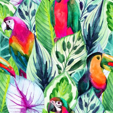 watercolor parrots and tropical leaves seamless pattern
