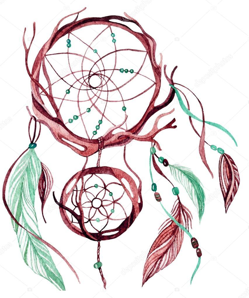 fb45626028d4e Atrapasueños étnicos acuarela. Ilustración para el diseño de pintados a  mano - dibujos  atrapasueños pintados — Foto de Tetiana Syrytsyna