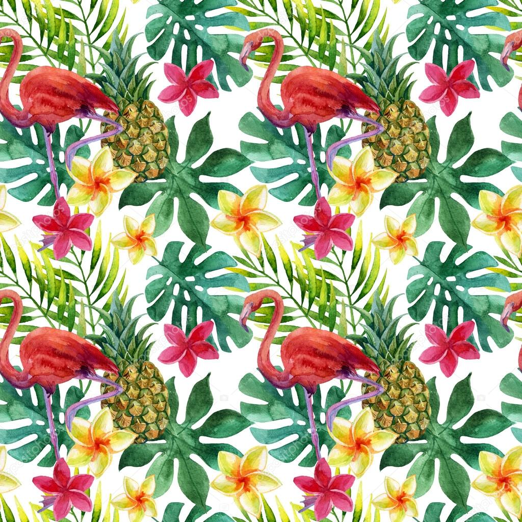 Tropical watercolor pineapple, flowers and leaves with ...