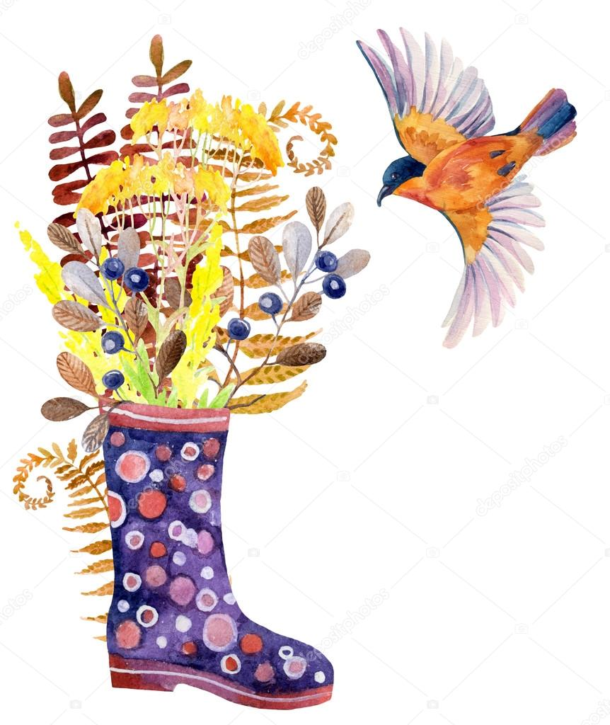 Watercolor polka dot rubber boots with meadow herbs and bird.
