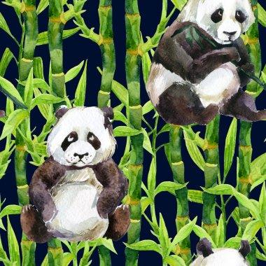 Panda with bamboo watercolor seamless pattern