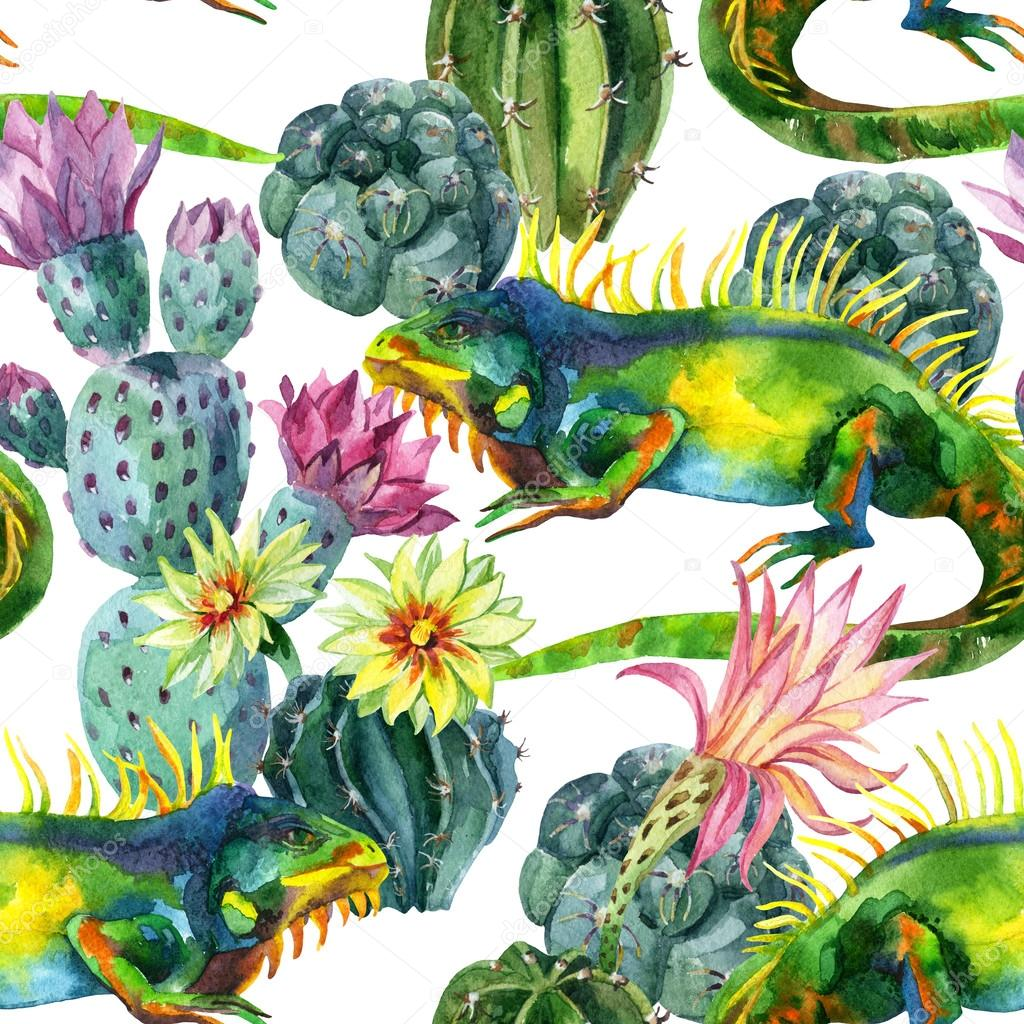 Watercolor seamless cactus pattern