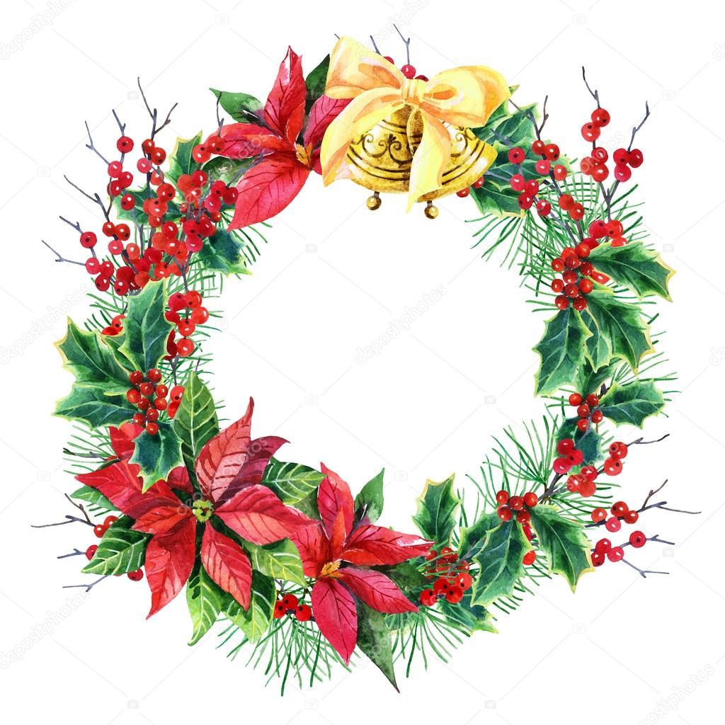 watercolor Christmas wreath — Stock Photo © Tetiana_Syrytsyna #88174310