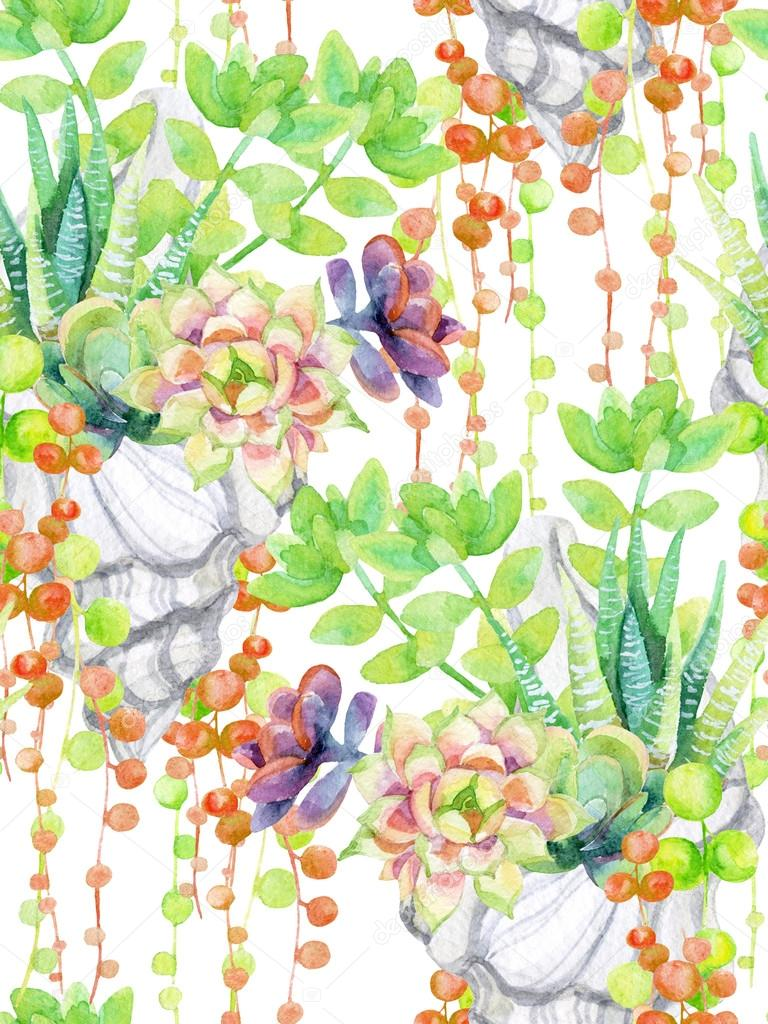 Watercolor succulents background.