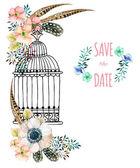 Fényképek Akvarell kártya madár kalitka és virágok