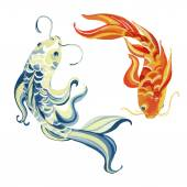Photo Watercolor asian koi