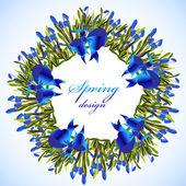 Fotografie Bluebell flowers wreath.