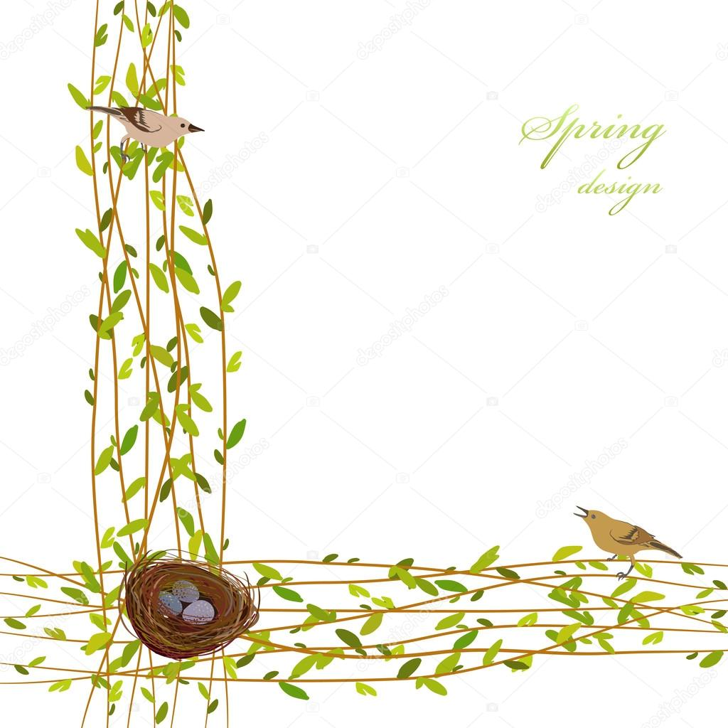 Spring twigs background.