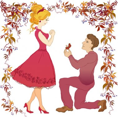 Marriage proposal illustration.