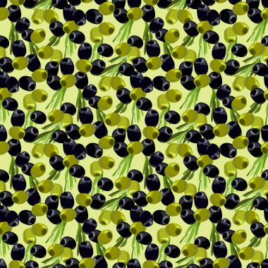Olives seamless pattern background.