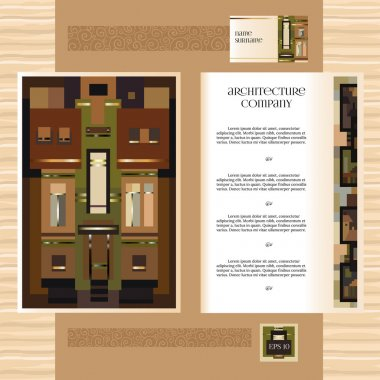 Template jof design broshure with historic mansion elements.