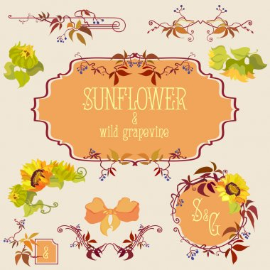 Template and border elements set with sunflower and grape
