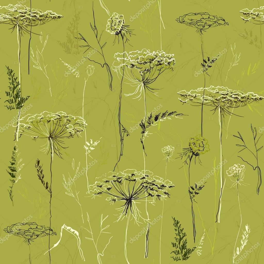 Green Seamless Vintage Pattern with Herbs and plants.
