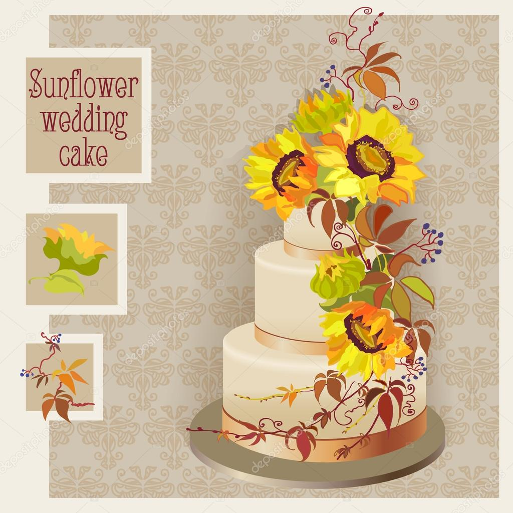 wedding cake design with sunflower and wild grapevine — Stock Vector ...