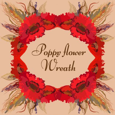 Floral wreath with red poppy flowers and spike lets of wheat.