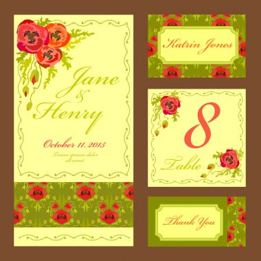 Poppy flower Wedding card set. Vintage Vector illustration.