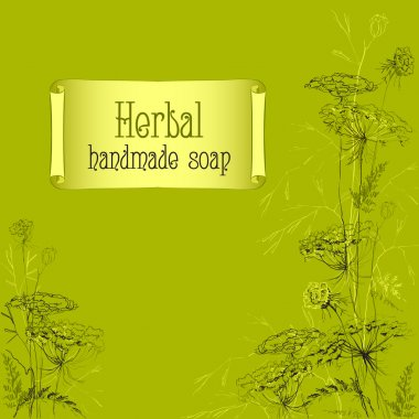 Green hand drawn herbs and plants sketch. Handmade soap design.