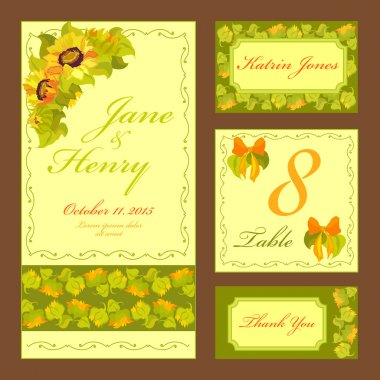 Sunflower Wedding card set. Printable Vector illustration.