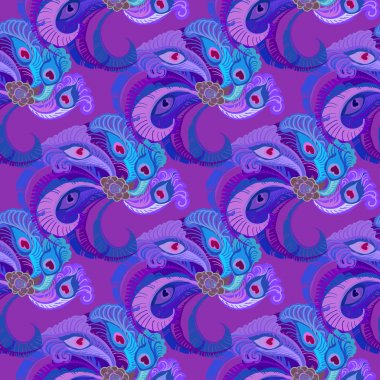 Violet purple peacock feathers seamles pattern background.