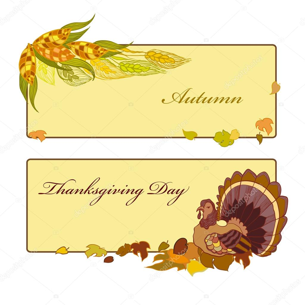 Thanksgiving day banner with corn, pumpkin and autumn leaves.