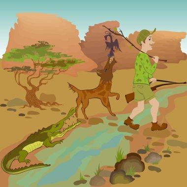 Cartoon hunter with bird, wolf and alligator.