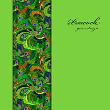 Green vertical border peacock feathers pattern background. Text place.