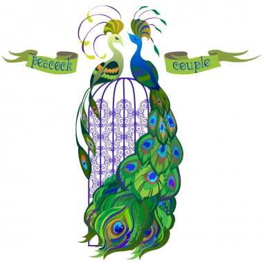 Couple peacocks. Ribbon with text. Green design.