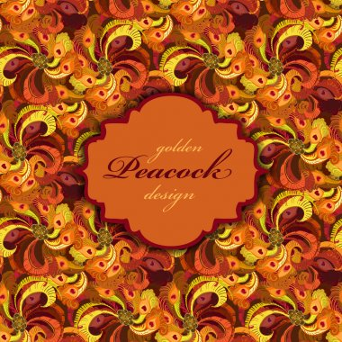 Golden orange and red peacock feathers pattern    background. Vintage label.