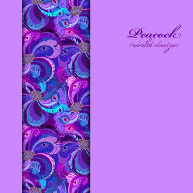 Violet, lilac and blue peacock feathers. Vertical border design.