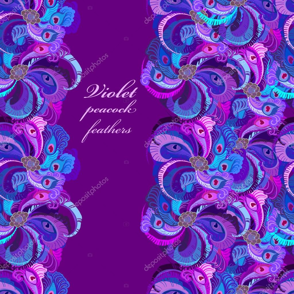 violet lilac and blue peacock feathers vertical border dark design