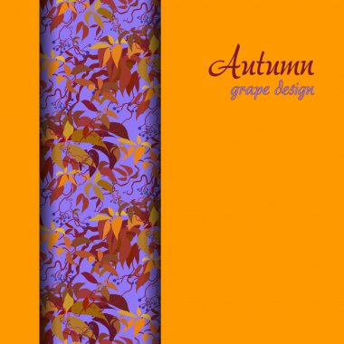 Autumn grape with orange red leaves background. Vertical border design.