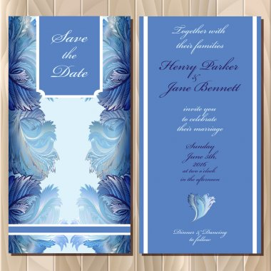 Winter frozen glass design. Wedding invitation card. Vector illustration