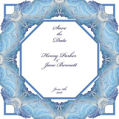 Winter frozen glass frame design. Wedding background. Vector  illustration.