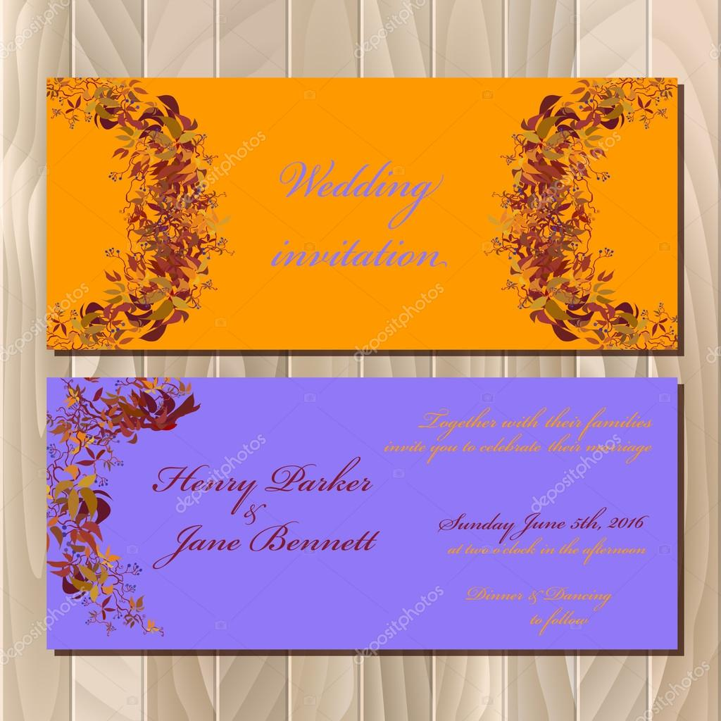 Autumn orange wild grape wedding invitation card printable vector autumn orange wild grape wedding invitation card printable vector illustration vetor de stock stopboris Images