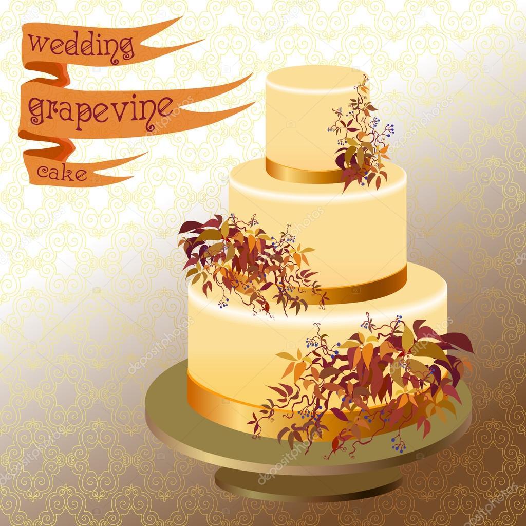 Wedding cake with autumn wild grape. Golden design. — Stock Vector ...