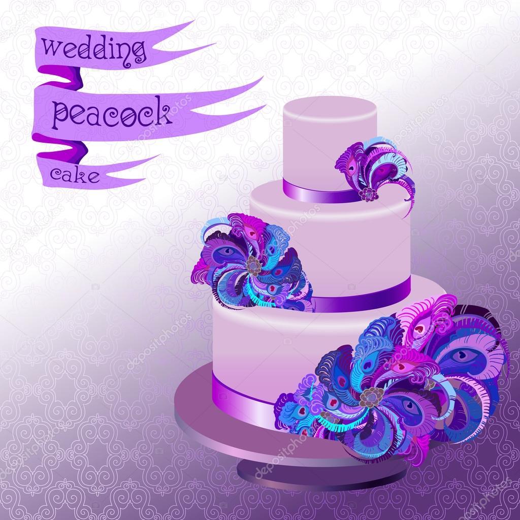 Hochzeitstorte Mit Pfauenfedern Violet Lila Design Stockvektor