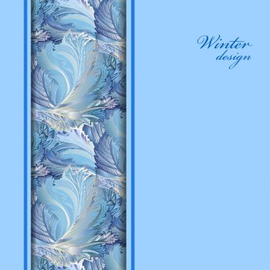 Blue vertical border winter frozen glass background. Text place.