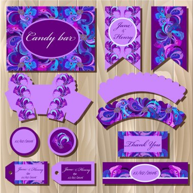 Set of printable packaging backgrounds to wedding. Candy bar design.
