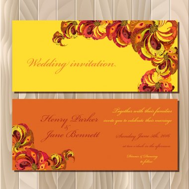Peacock Feathers wedding invitation card. Printable Vector illustration