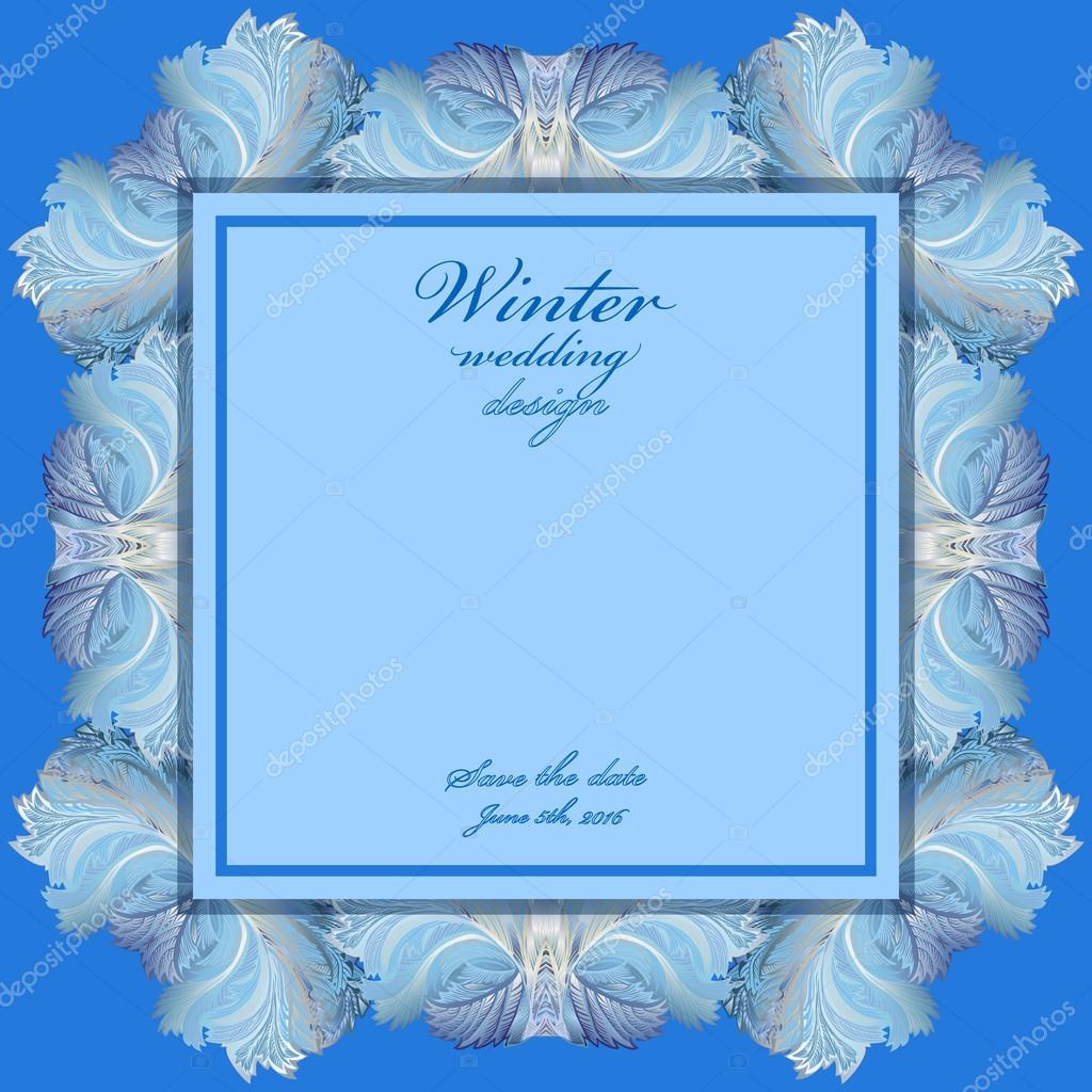 Hochzeit-Rahmen mit Winter gefrorenen Glas-Design. Text Ort ...