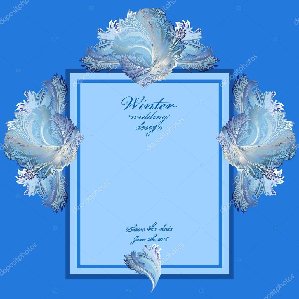 Hochzeit vertikale Rahmen mit Winter gefrorenen Glas-Design. Text ...